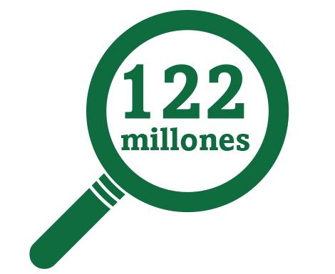 Imagen de icono de lupa que representa a los 122 millones de estadounidenses que padecen presbicia.