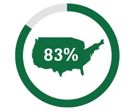 Imagen de icono de mapa que representa al 83 % de los estadounidenses que no está familiarizado con la presbicia.