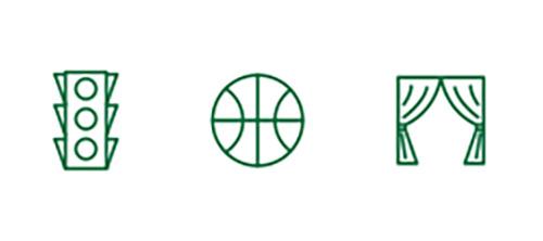 Imágenes de iconos de una farola, baloncesto y un telón que representan la mejora de la visión de lejos.