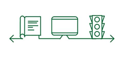 Imágenes de iconos de libro, ordenador y semáforo que indican la mejora de la visión a cualquier distancia.