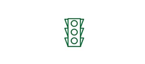 Imagen de icono de semáforo que indica la mejora de la visión a distancia con una LIO multifocal.