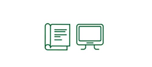 Imágenes de iconos de libro y de pantalla de ordenador que indican el aumento de la seguridad en situaciones de baja visibilidad.