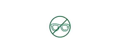 Imagen de icono que muestra que no es necesario usar gafas.