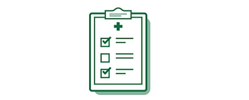 Imagen de icono de lista de comprobación médica sobre las opciones de cirugía de cataratas.