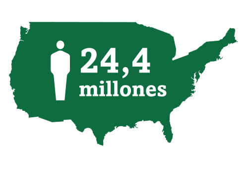 Imagen de icono en forma de mapa que representa a los 24,4 millones de estadounidenses que padecen cataratas.